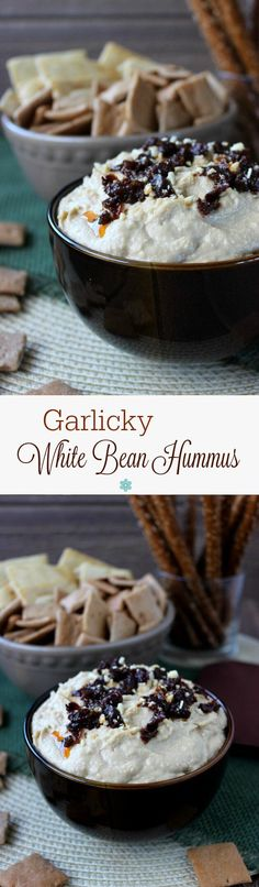 Garlicky White Bean Hummus has just the right balance of garlic to enhance the flavor. Easy, healthy and inviting served with a variety of chips and vegetables.