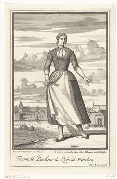 Pieter van den Berge | Vissersvrouw van het eiland Marken, Pieter van den Berge, 1669 - in or before 1689 | Een vissersvrouw met een bloemetje in haar hand staat voor een weiland. Op de achtergrond het dorpje Marken en de Zuiderzee. Prent uit een serie van 10 prenten met dorpelingen die klederdrachten dragen.