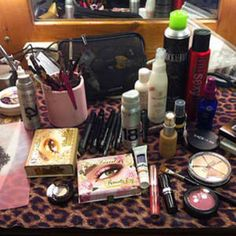 Miranda lambert makeup table. Too Faced!! I have so much Too Faced make up! Great minds think alike.