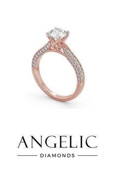 You can never go wrong with a rose gold engagement ring. This vintage engagement ring is covered in diamonds and features a unique design.