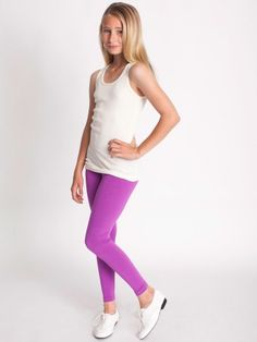 Youth Cotton Spandex Jersey Legging for the girls