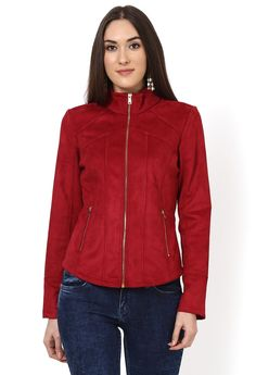 The polyester spandex come together to make a brushed faux red suede in this winter jacket. The smart cuts jacket with panels and metal zipper detailing all over works well with jeans and boots. Polyester Spandex, Jeans And Boots, Bomber Jacket, Winter Jackets, Red, Collection, Fashion, Moda, Winter Vest Outfits