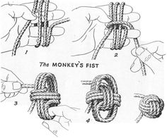 Learn how to make a Paracord Monkey Fist Knots and Keychain from Tutorials with instructions. Make cool paracord accessories using monkey fist knot. Rope Knots, Macrame Knots, Diy Knot Earrings, Monkey Fist Knot, Paracord Monkey Fist, The Knot, Survival Skills, Survival Tips, Diy And Crafts