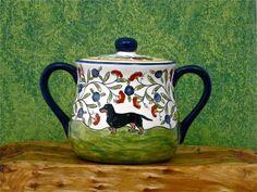 Black and Tan Dachshund Sugar Bowl - Hand Painted. $50.00, via Etsy.
