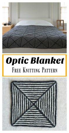 Optic Blanket Free Knitting Pattern – Your Crochet Loom Knitting, Knitting Patterns Free, Knit Patterns, Free Knitting, Free Pattern, Beginner Knitting, Finger Knitting, Manta Crochet, Knit Or Crochet