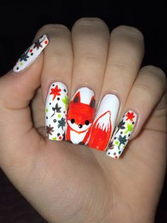 fox nails, If I'll ever have long enough nails for this. fox nails, If I'll ever have long enough nails for this. Coffin Nails Glitter, Fall Acrylic Nails, Cute Nails, Pretty Nails, Fox Nails, Nail Mania, Solid Color Nails, Fall Nail Art Designs, Wedding Nails Design