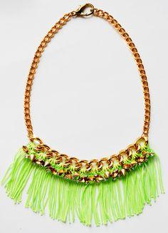 Neon Green Crystal Fringe Statement Necklace
