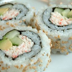 California Crab Rolls (Sushi); for Mimi's b-day: so good. A safe, easy sushi to try