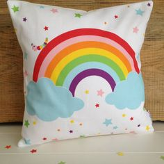 New Baby And Children's Rainbow Cushion Rainbow Bedding, Rainbow Nursery Decor, Rainbow Bedroom, Unicorn Rooms, Unicorn Bedroom, Girl Room, Girls Bedroom, Baby Room, Bedroom Ideas