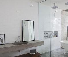 concrete sink, tub & shower bathroom design decorating before and after design ideas Concrete Sink, Concrete Bathroom, Bathroom Countertops, Concrete Countertops, Cement Counter, Poured Concrete, Polished Concrete, Stone Bathroom, White Concrete