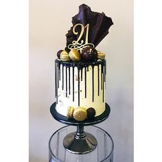 Image result for black white gold drip cakes