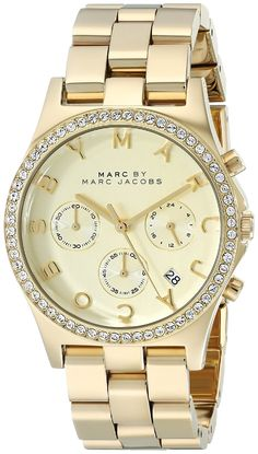 Marc by Marc Jacobs Women's MBM3105 Henry Gold-Tone Stainless Steel Bracelet Watch ** To view further for this watch, visit the image link.