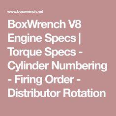 BoxWrench V8 Engine Specs   Torque Specs - Cylinder Numbering - Firing Order - Distributor Rotation
