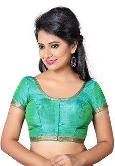 2859555da865a8 Salwar Studio Women's Green Silk Readymade Front Open Saree Blouse: Amazon.in:  Clothing