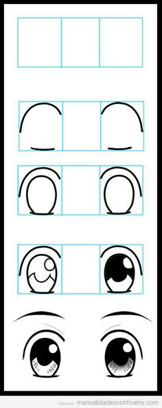 Step by step tutorial to draw the eyes of eva rubber dolls fofuchas