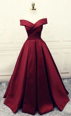 Simple V-neck Off Shoulder Prom Dresses Long Evening Gowns - - Burgundy Prom Dresses,Ball Gowns Prom Dress,Satin Evening Gowns Source by Maroon Gowns, Maroon Prom Dress, Maroon Dresses Formal, Burgundy Prom Dresses Long, Vintage Prom Dresses, Dress Prom, Dress Vintage, Wedding Dresses, Ball Gowns Prom