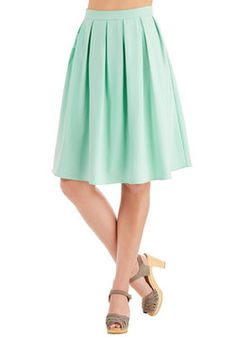 Morning, Swoon, and Night Skirt. A busy gal like you requires fashion with versatility, and this mint-green skirt provides just that. #mint #modcloth