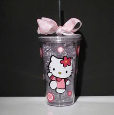 Hello Kitty Acrylic Travel Tumbler with lid and by SquigglyDoodles, $13.00
