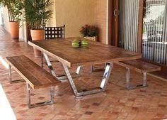 Base de madeira para mesa de jantar – Maciça, rústica (4) dicas de decoração fotos Dining Room, Dining Table, Outdoor Furniture, Outdoor Decor, Wood, Iron Forge, Pallets, Cuba, Home Decor