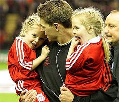 Steven Gerrard 's adorable girls melt hearts at Anfield. Liverpool Captain, Ynwa Liverpool, Steven Gerrad, Stevie G, Young Lad, Football Love, You'll Never Walk Alone, Reasons To Smile, Father And Son
