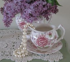 Beautiful Pictures of Lilacs  and lace | lilacs, pearls and lace | The Frill of It All: Lace & Pearls