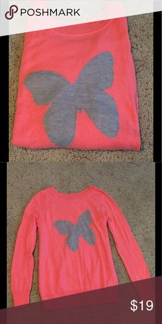 GAP Sweater, bright coral with butterfly GAP really cute lightweight sweater. Looks great with a skirt as well jeans. Offers are always welcome. Thanks for shopping my closet! GAP Sweaters Crew & Scoop Necks