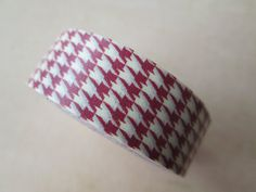 Washi Tape  Single Roll  Red and Creme Houndstooth by HazalsBazaar, $5.00