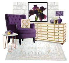 """Grey, Purple, and Gold"" by smilepapersdecor ❤ liked on Polyvore featuring interior, interiors, interior design, home, home decor, interior decorating, John-Richard, Lalique, Bitossi and LSA International"