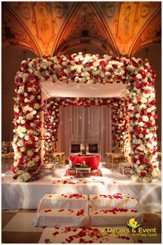 The Indian wedding ceremony mandap. A photograph showing the the floral used to decorate the entire mandap. Marriage Decoration, Wedding Stage Decorations, Engagement Decorations, Decor Wedding, Wedding Centerpieces, Wedding Table, Diy Wedding, Wedding Cakes, Table Decorations