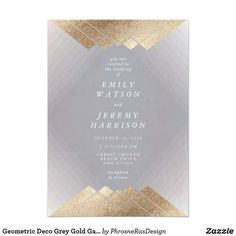 Shop Gold Diamond Grey Geometric Deco Gatsby Wedding Invitation created by PhrosneRasDesign. Art Deco Wedding Invitations, Wedding Invitation Cards, Wedding Cards, Different Wedding Ideas, Wedding Stationery Inspiration, Geometric Wedding, Gatsby Wedding, Grey And Gold, Gatsby Style