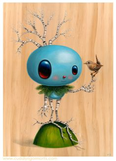 """Betula 13"""" x 9.25"""" original acrylic on wood -- SOLD    For my mini showing, Dendrology Mythology at Auguste Clown Gallery opening March 15th, 2013"""