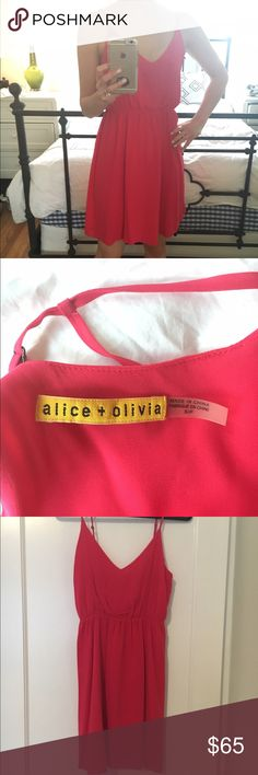 Backless Hot Pink Alice + Olivia Mini Dess Small Adorable and flirty Alice + Olivia dress. Bright pink. Size Small but fits S or XS. Mini length. Backless v-shaped back. Lined. Alice + Olivia Dresses Mini