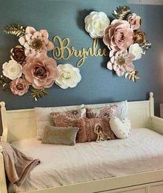 Baby Room Decor, Nursery Room, Bedroom Decor, Nursery Name Decor, Room Baby, Girl Nursery Colors, Bedroom Ideas, Name Wall Decor, Floral Nursery