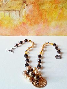 Necklace Gold Brown Pearls Swarovski Gift 402 di CinfulDesigns, $29.00