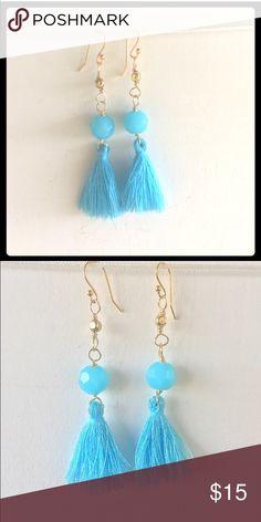 NEW HANDCRAFTED GOLD & SKY BLUE TASSEL EARRINGS NEW, HANDCRAFTED PRETTY GOLD & SKY BLUE TASSEL EARRINGS adorned by amie Jewelry Earrings