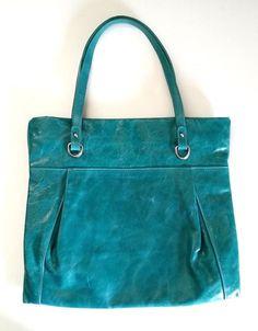 Gianni Chiarini Glazed Leather Bag Shoulder Turquoise Green Aqua Tote Italy #GianniChiarini #ShoulderBag