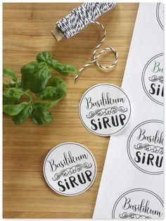 sirup basilikum vorlage Basteln Label Bäckergarn Bakers twine mitbringsel für Freunde Gastgeschenk DIY Sirup selber machen Basilikum www.pickposh.de