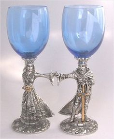 King Arthur & Guinevere Pewter Handmade Toasting Goblets...great for Renaissance Wedding