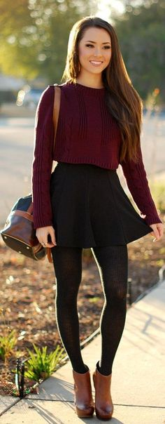 Fall matron sweater with black skirt and brown high boots #promgirl #fall #autumn #fashion