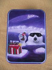 COCA COLA COLLECTOR TIN POLAR BEAR ICEBERG SWIM BOTTLE BORDER MAN CAVE CHRISTMAS