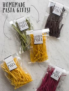 Colorful Homemade Pasta Gifts+ Marinara Recipe - Includes Free Printable Labels