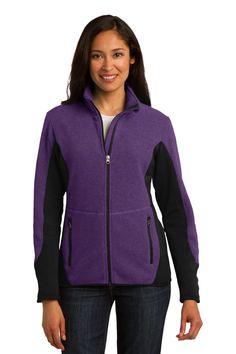 Port Authority Ladies R-Tek Pro Fleece Full-Zip Jacket. L227 Purple Heather/ Black
