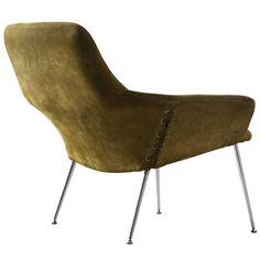 Poul Nørreklit Olive Green Suede Easy Chair