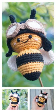 Crochet Bee, Crochet Amigurumi Free Patterns, Crochet Gifts, Cute Crochet, Crochet Dolls, Crochet Yarn, Crochet Leaves, Crochet Flower, Single Crochet