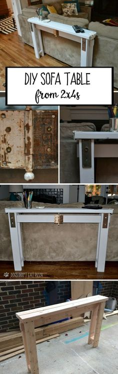 Check out this easy idea on how to make a #DIY #wooden sofa table from 2x4s for a living room #homedecor #project #budget @istandarddesign