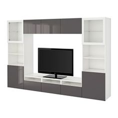 "BESTÅ TV storage combination/glass doors - white/Selsviken high-gloss/gray clear glass, drawer runner, push-open, 118 1/8x15 3/4x75 5/8 "" - IKEA"