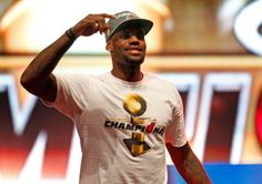 LeBron James #6 of the Miami Heat celebrates during a rally for the 2012 NBA Champion Miami Heat at American Airlines Arena on June 25, 2012 in Miami, Florida.