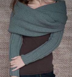 Tejer patrón abrigo suéter manga bufanda por LakeHouseKnits