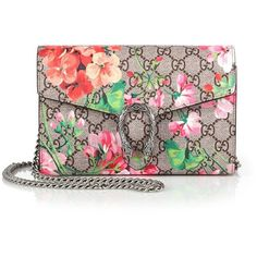 Gucci Dionysus Geranium-Print Coated Canvas Chain-Strap Wallet ($1,290) ❤ liked on Polyvore featuring bags, wallets, apparel & accessories, multi, chain bag, colorful wallets, brown bag, snap wallet and gucci