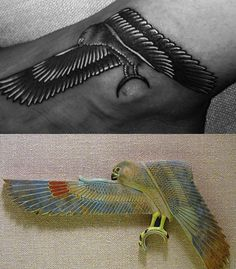 The tattoo appears to be inspired by this Egyptian falcon found at the Metropolitan Museum of Art in New York City. In Ancient Egyptian mythology, the falcon was associated with the solar god Horus. As you might know, the symbol of All-Seeing Eye derives from the Ancient Egyptian symbol of the Eye of Horus. In short, Rihanna's checkerboard dress and the emphasis on her Horus tattoo makes the above picture all about Masonic symbolism.